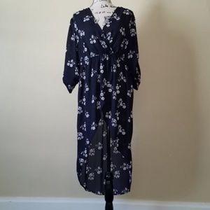 Torrid Hi-Low Floral Dress. Navy Blue.
